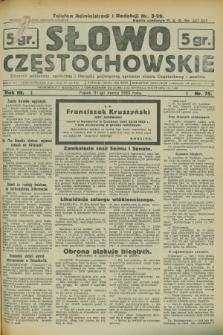 Słowo Częstochowskie : dziennik polityczny, społeczny i literacki, poświęcony sprawom miasta Częstochowy i powiatu. R.3, nr 75 (31 marca 1933)