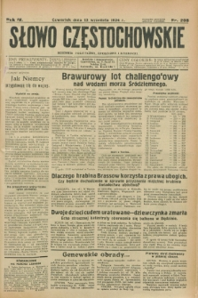 Słowo Częstochowskie : dziennik polityczny, społeczny i literacki. R.4, nr 208 (13 września 1934)