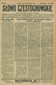 Słowo Częstochowskie : dziennik polityczny, społeczny i literacki. R.4, nr 256 (9 listopada 1934)