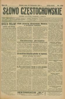 Słowo Częstochowskie : dziennik polityczny, społeczny i literacki. R.4, nr 274 (30 listopada 1934)