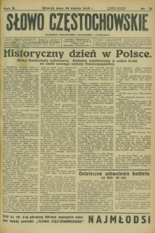 Słowo Częstochowskie : dziennik polityczny, społeczny i literacki. R.5, nr 71 (26 marca 1935)