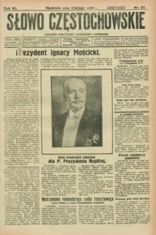 Słowo Częstochowskie : dziennik polityczny, społeczny i literacki. R.6, nr 27 (2 lutego 1936)