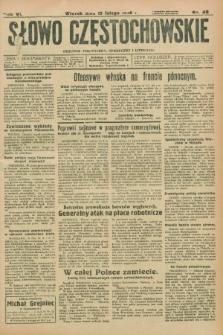Słowo Częstochowskie : dziennik polityczny, społeczny i literacki. R.6, nr 40 (18 lutego 1936)