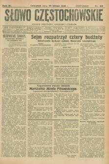 Słowo Częstochowskie : dziennik polityczny, społeczny i literacki. R.6, nr 42 (20 lutego 1936)