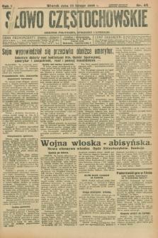 Słowo Częstochowskie : dziennik polityczny, społeczny i literacki. R.6, nr 46 (25 lutego 1936)