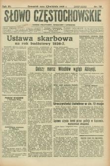 Słowo Częstochowskie : dziennik polityczny, społeczny i literacki. R.6, nr 78 (2 kwietnia 1936)