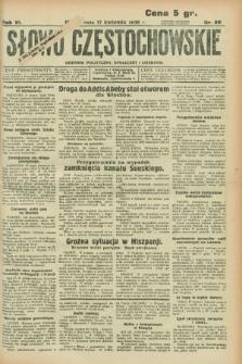 Słowo Częstochowskie : dziennik polityczny, społeczny i literacki. R.6, nr 89 (17 kwietnia 1936)