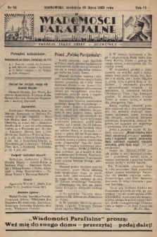 """Wiadomości Parafjalne : dodatek do tygodników """"Niedziela"""" i""""Przewodnika Katolickiego"""". 1939, nr14"""