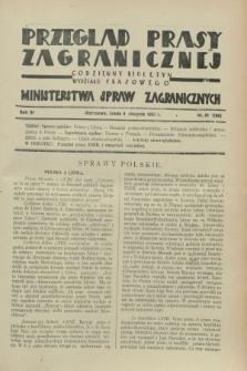 Przegląd Prasy Zagranicznej : codzienny biuletyn Wydziału Prasowego Ministerstwa Spraw Zagranicznych. R.3, nr 81 (8 sierpnia 1928) = nr 180
