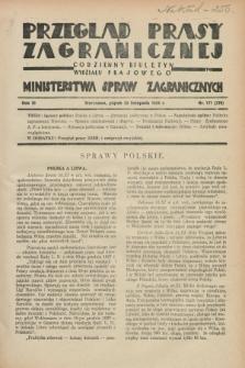 Przegląd Prasy Zagranicznej : codzienny biuletyn Wydziału Prasowego Ministerstwa Spraw Zagranicznych. R.3, nr 171 (23 listopada 1928) = nr 270