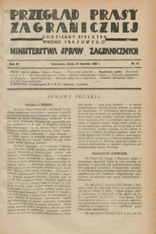 Przegląd Prasy Zagranicznej : codzienny biuletyn Wydziału Prasowego Ministerstwa Spraw Zagranicznych. R.4, nr 13 (16 stycznia 1929)