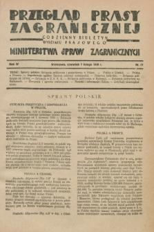 Przegląd Prasy Zagranicznej : codzienny biuletyn Wydziału Prasowego Ministerstwa Spraw Zagranicznych. R.4, nr 31 (7 lutego 1929)
