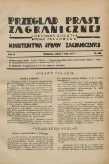 Przegląd Prasy Zagranicznej : codzienny biuletyn Wydziału Prasowego Ministerstwa Spraw Zagranicznych. R.4, nr 102 (4 maja 1929)