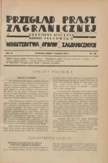 Przegląd Prasy Zagranicznej : codzienny biuletyn Wydziału Prasowego Ministerstwa Spraw Zagranicznych. R.4, nr 128 (7 czerwca 1929)