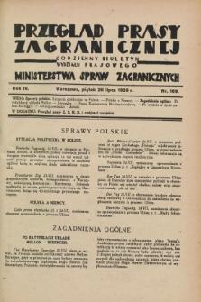 Przegląd Prasy Zagranicznej : codzienny biuletyn Wydziału Prasowego Ministerstwa Spraw Zagranicznych. R.4, nr 169 (26 lipca 1929)