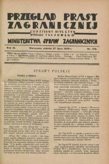 Przegląd Prasy Zagranicznej : codzienny biuletyn Wydziału Prasowego Ministerstwa Spraw Zagranicznych. R.4, nr 170 (27 lipca 1929)