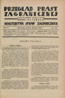 Przegląd Prasy Zagranicznej : codzienny biuletyn Wydziału Prasowego Ministerstwa Spraw Zagranicznych. R.4, nr 172 (30 lipca 1929)