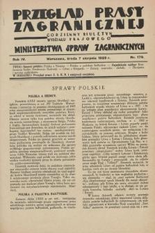 Przegląd Prasy Zagranicznej : codzienny biuletyn Wydziału Prasowego Ministerstwa Spraw Zagranicznych. R.4, nr 179 (7 sierpnia 1929)