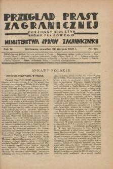 Przegląd Prasy Zagranicznej : codzienny biuletyn Wydziału Prasowego Ministerstwa Spraw Zagranicznych. R.4, nr 191 (22 sierpnia 1929)