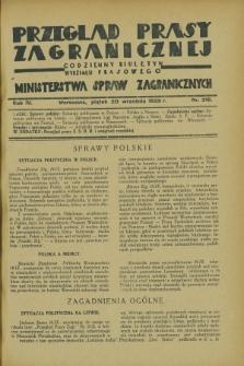 Przegląd Prasy Zagranicznej : codzienny biuletyn Wydziału Prasowego Ministerstwa Spraw Zagranicznych. R.4, nr 216 (20 września 1929)