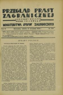 Przegląd Prasy Zagranicznej : codzienny biuletyn Wydziału Prasowego Ministerstwa Spraw Zagranicznych. R.4, nr 217 (21 września 1929)
