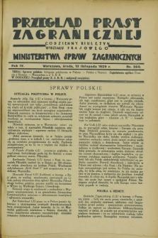 Przegląd Prasy Zagranicznej : codzienny biuletyn Wydziału Prasowego Ministerstwa Spraw Zagranicznych. R.4, nr 260 (13 listopada 1929)