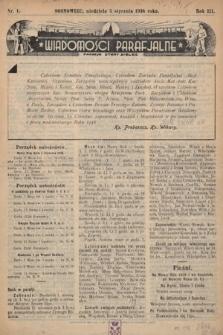 """Wiadomości Parafjalne : dodatek do tygodników """"Niedziela"""" i""""Przewodnika Katolickiego"""". 1936, nr1"""