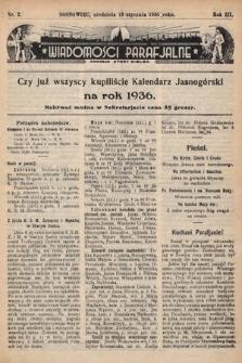 """Wiadomości Parafjalne : dodatek do tygodników """"Niedziela"""" i""""Przewodnika Katolickiego"""". 1936, nr2"""