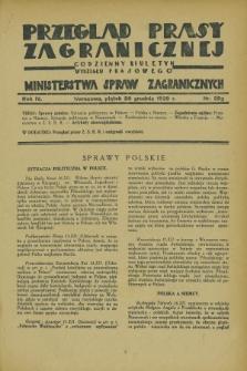 Przegląd Prasy Zagranicznej : codzienny biuletyn Wydziału Prasowego Ministerstwa Spraw Zagranicznych. R.4, nr 292 (20 grudnia 1929)