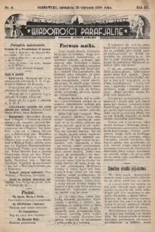 """Wiadomości Parafjalne : dodatek do tygodników """"Niedziela"""" i""""Przewodnika Katolickiego"""". 1936, nr4"""