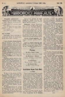 """Wiadomości Parafjalne : dodatek do tygodników """"Niedziela"""" i""""Przewodnika Katolickiego"""". 1936, nr5"""