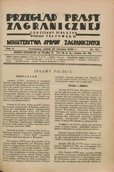 Przegląd Prasy Zagranicznej : codzienny biuletyn Wydziału Prasowego Ministerstwa Spraw Zagranicznych. R.5, nr 191 (22 sierpnia 1930)