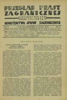 Przegląd Prasy Zagranicznej : codzienny biuletyn Wydziału Prasowego Ministerstwa Spraw Zagranicznych. R.6, nr 3 (5 stycznia 1931)
