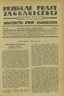 Przegląd Prasy Zagranicznej : codzienny biuletyn Wydziału Prasowego Ministerstwa Spraw Zagranicznych. R.6, nr 10 (14 stycznia 1931)