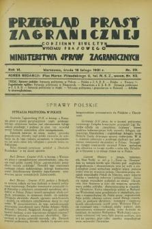 Przegląd Prasy Zagranicznej : codzienny biuletyn Wydziału Prasowego Ministerstwa Spraw Zagranicznych. R.6, nr 39 (18 lutego 1931)