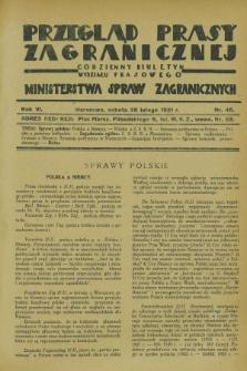 Przegląd Prasy Zagranicznej : codzienny biuletyn Wydziału Prasowego Ministerstwa Spraw Zagranicznych. R.6, nr 48 (28 lutego 1931)