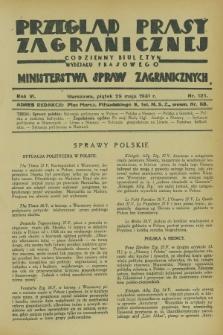 Przegląd Prasy Zagranicznej : codzienny biuletyn Wydziału Prasowego Ministerstwa Spraw Zagranicznych. R.6, nr 121 (29 maja 1931)