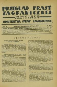Przegląd Prasy Zagranicznej : codzienny biuletyn Wydziału Prasowego Ministerstwa Spraw Zagranicznych. R.6, nr 169 (27 lipca 1931)