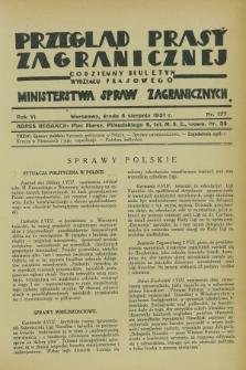 Przegląd Prasy Zagranicznej : codzienny biuletyn Wydziału Prasowego Ministerstwa Spraw Zagranicznych. R.6, nr 177 (5 sierpnia 1931)