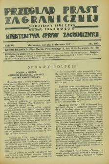 Przegląd Prasy Zagranicznej : codzienny biuletyn Wydziału Prasowego Ministerstwa Spraw Zagranicznych. R.6, nr 180 (8 sierpnia 1931)