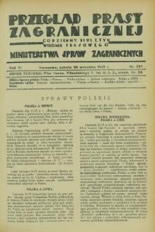 Przegląd Prasy Zagranicznej : codzienny biuletyn Wydziału Prasowego Ministerstwa Spraw Zagranicznych. R.6, nr 221 (26 września 1931)