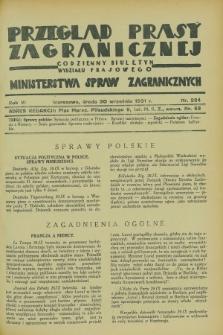 Przegląd Prasy Zagranicznej : codzienny biuletyn Wydziału Prasowego Ministerstwa Spraw Zagranicznych. R.6, nr 224 (30 września 1931)
