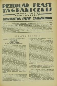 Przegląd Prasy Zagranicznej : codzienny biuletyn Wydziału Prasowego Ministerstwa Spraw Zagranicznych. R.6, nr 231 (8 października 1931)