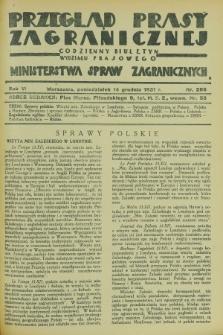 Przegląd Prasy Zagranicznej : codzienny biuletyn Wydziału Prasowego Ministerstwa Spraw Zagranicznych. R.6, nr 286 (14 grudnia 1931)