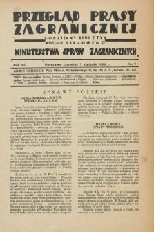 Przegląd Prasy Zagranicznej : codzienny biuletyn Wydziału Prasowego Ministerstwa Spraw Zagranicznych. R.7, nr 4 (7 stycznia 1932)