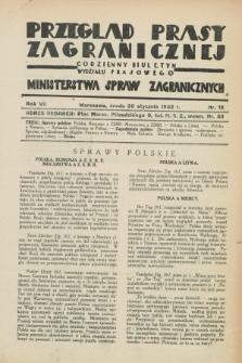 Przegląd Prasy Zagranicznej : codzienny biuletyn Wydziału Prasowego Ministerstwa Spraw Zagranicznych. R.7, nr 15 (20 stycznia 1932)