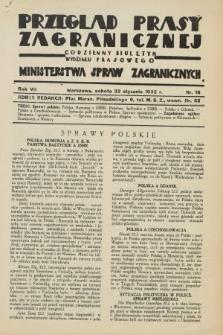 Przegląd Prasy Zagranicznej : codzienny biuletyn Wydziału Prasowego Ministerstwa Spraw Zagranicznych. R.7, nr 18 (23 stycznia 1932)