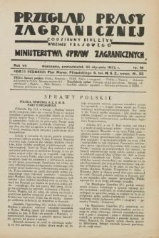 Przegląd Prasy Zagranicznej : codzienny biuletyn Wydziału Prasowego Ministerstwa Spraw Zagranicznych. R.7, nr 19 (25 stycznia 1932)