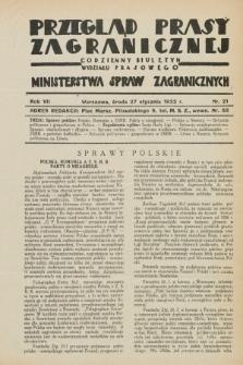 Przegląd Prasy Zagranicznej : codzienny biuletyn Wydziału Prasowego Ministerstwa Spraw Zagranicznych. R.7, nr 21 (27 stycznia 1932)