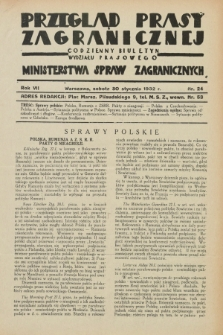 Przegląd Prasy Zagranicznej : codzienny biuletyn Wydziału Prasowego Ministerstwa Spraw Zagranicznych. R.7, nr 24 (30 stycznia 1932)